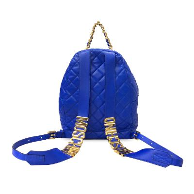 quilted chain backpack blue